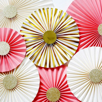 Paper rosettes - paper pinwheels - paper fans - Coral Wedding Decorations - Coral Bridal Shower - Coral Wedding Shower - Cake Smash Backdrop