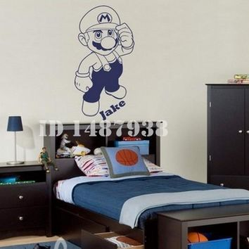 Super Mario party nes switch Cartoon  Personalised Name Cartoon Wall Sticker Wall Decals Kids Nursery Bedroom Decorative Size 100x48cm # T101 AT_80_8