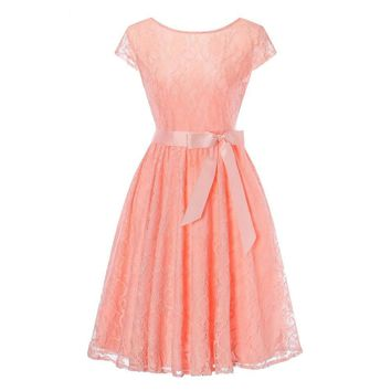 Pink Lace short sleeved Ball Gown Bridesmaid dresses wedding party prom dress  women fashion clothing