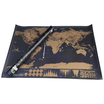 Free Shipping 1Piece Deluxe Travel World Map Foil Layer Coating Poster Personalized Black Journal World Map
