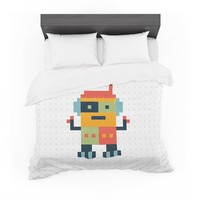 "Daisy Beatrice ""Happy Robot"" Multicolor Featherweight Duvet Cover"