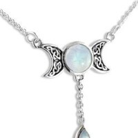 "Sterling Silver Celtic Knot Triple Moon Phases Genuine Rainbow Moonstone 17"" Necklace"