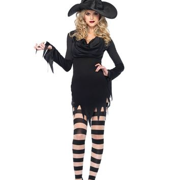 Long Sleeve Tattered Dress Costume (Small/Medium,Black)