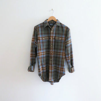 90s Polo Ralph Lauren Plaid Shirt, Lambswool Oxford Button Down, Unisex Men's Small or Women's Medium