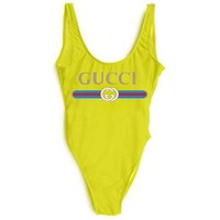 GUCCI New Fashion Letter Print Red And Blue Stripe Swimsuit One Piece Bikini Suit Yellow