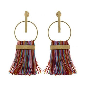 Geometric Thread Gold Earrings