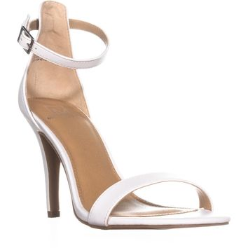 MG35 Blaire6 Slim Heel Ankle Strap Sandals, White, 8.5 US