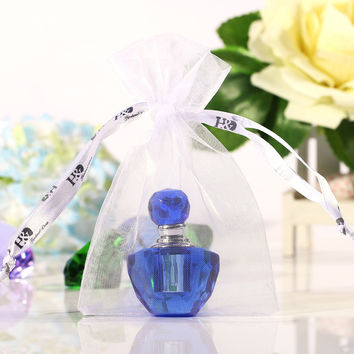 2PC/lot Vintage Mini Crystal Glass Blue and Green 2MLTravel Perfume Bottle Empty Sample Bottle Refillable Container Wedding Gift