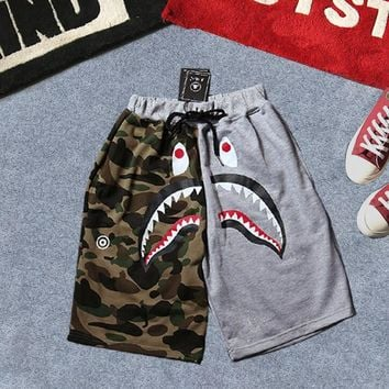 Camouflage Print Patchwork Couple Pants Shorts
