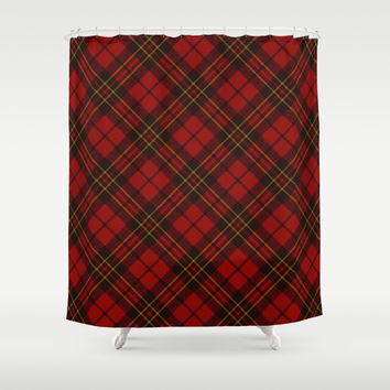 Adorable Red Christmas tartan Shower Curtain by PLdesign | Society6