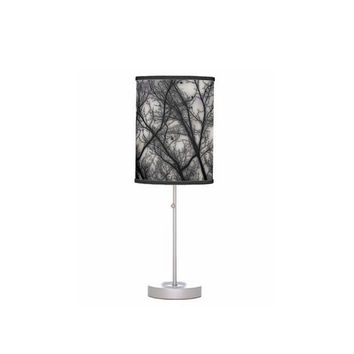 Haunted, black grey, trees, nature, spooky-Drum Shade Table Lamp-Office, House, Dorm, Guest Room, Nursery, Childrens Room-Made to Order-H#07