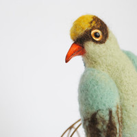 Green Magpie Hand felted Brooch Mint Bird Jewelry by katuasha