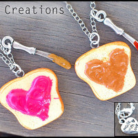 Peanut Butter & Jelly Best Friend Necklaces - Strawberry Jam - PB and J - Heart Kawaii Polymer Pendant - Miniature Food Jewelry - Sandwich