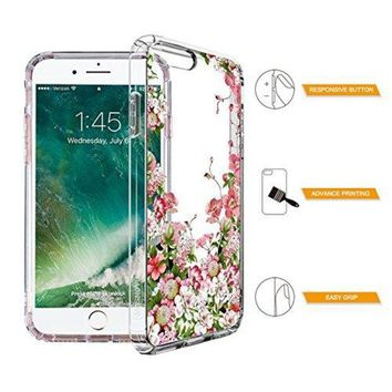 ONETOW iPhone 7 Plus Case, iPhone 8 Plus Case, Clear iPhone 7 Plus Case, MOSNOVO Floral Printing Flower Clear Design Transparent Plastic Case with TPU Bumper for iPhone 7 Plus (2016) / iPhone 8 Plus (2017)