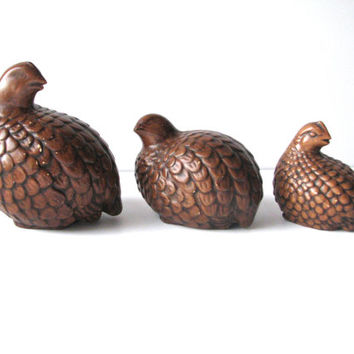 Brown Quail Birds 1970s Ceramic Family of 3