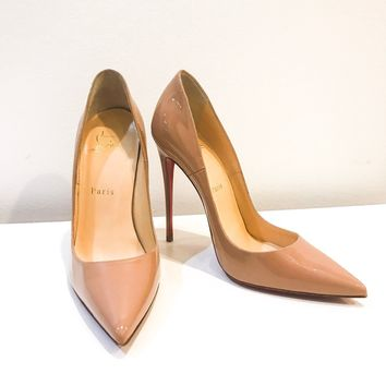 Christian Louboutin So Kate Red Sole Pump Heels Shoes Size 37.5 US 7.5 Nude