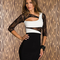 Voglee Women Hot Sexy Long Sleeves Cut Out Inset White Black Dress Bodycon Clubwear Party Evening Dress = 1956544964