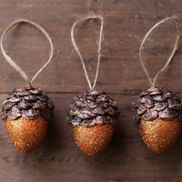 Acorn Ornaments, Pumpkin Orange Spice, Rustic Wooodland Decor - Set of 3