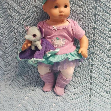 """15 inch Baby doll outfit """"Indian Elephant""""  Will fit Bitty Baby® Bitty Twins®  dress leggings socks headband bird flowers M5"""