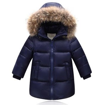 New Children baby school girl boy jacket real fur hooded duck down fluff kids coat thickening overcoat jacket for Russia winter