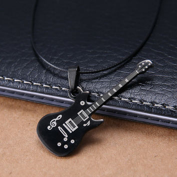 Free Shipping violin Pendant 316L Stainless Steel necklaces & pendants Leather Chain men jewelry fshion necklaces