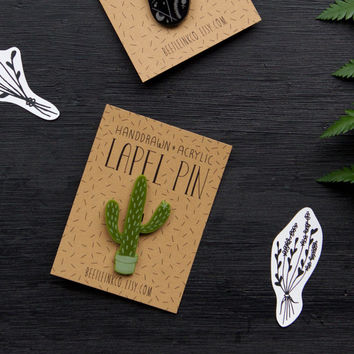 Cactus Pin - Acrylic Pin - Cactus Brooch - Lapel Pin - Laser Cut - Botanical Pin - Plant Brooch - Engraved Badge