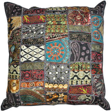 24 x 24 Throw Pillow cushion for couch Indian Decorative Cushion Cover Soft Furnishing 24X24 wholesale vintage indian decorative throw pilow