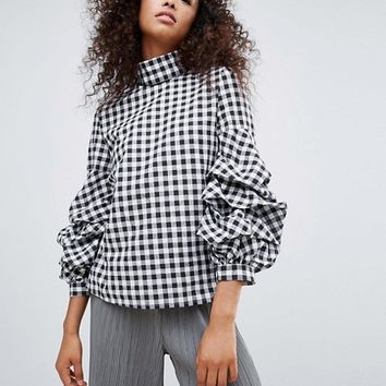 Unique 21 Gingham High Neck Blouse With Frill Detail at asos.com