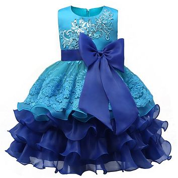 Baby Girl Dress Fancy Lace Princess Ruffles Fluffy Wedding Gown For Little Bridesmaid Children's Girl Clothing Kids Party Wear