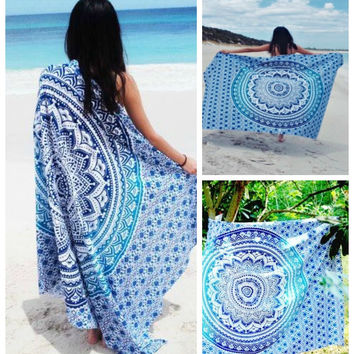 Blue Aqua Ombre Yoga Beach Wall Boho Tapestry