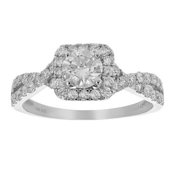 1 CT Diamond Halo Criss-Cross Wedding Engagement Ring 14K White Gold
