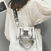 ETAILL New Arrival Glossy Patent Leather Female Shoulder Bag Letter Wide Strap Chain Luxury Designer Fashion Women Messenger Bag