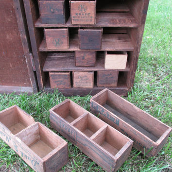 Antique Shipping Crate Cabinet with 27 Drawers