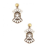 Sole Society Crystal Deco Drop Earrings