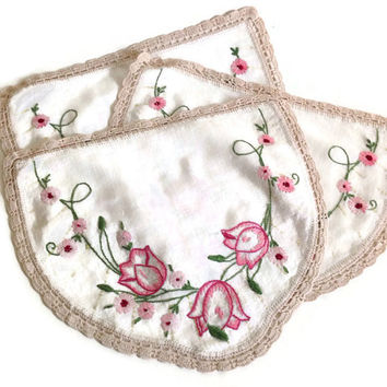 Vintage Linen Chair Protectors, Hand Embroidered, 3 Piece Set, Pink Tulips,   Crochet Edging, Ecru Color
