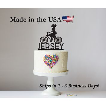 Female Bicyclist Cake Topper with Name