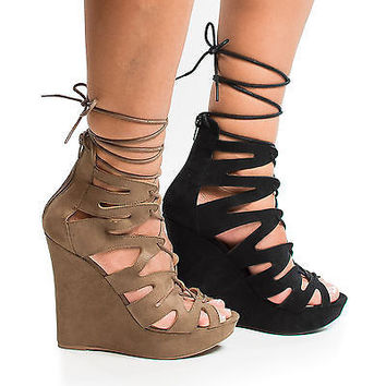 Madison176A Taupe By Wild Diva, Women's Gladiator Corset Lace Up Leg Wrap Sandal On Platform Wedge.