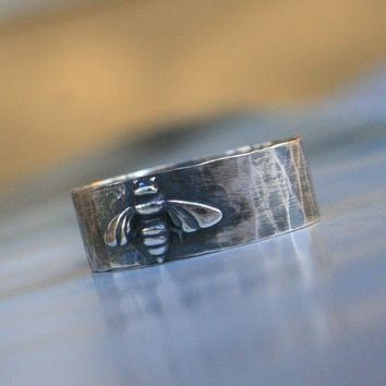 $46.00 Bumble Bee Honey Bee Ring Sterling Silver by KiraFerrer on Etsy