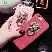 FLOVEME Case For iPhone 7 Plus Retro Snake Skin Metal Lion Head Ring Phone Stand Cover For iPhone 6 6S iPhone 6 6S Plus 5 5S SE