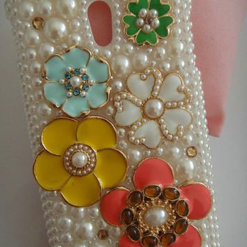 Pearl Rhinestones Charms Lovely Colorized Flowers Bling Shining Handmade Phone Case  For Sprint Samsung Galaxy S 2 II Epic Touch 4G D710