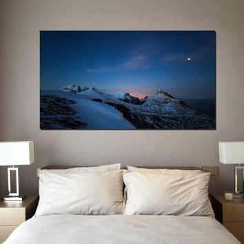 canik37 Canvas Print Stretched Wrapped Mountain snow night sky nature 26x48""