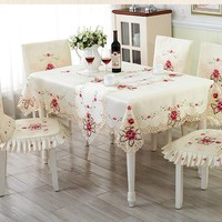 European Embroidered Table Cloth Table Runner Floral Lace Covers Fairview Garden Home Party Wedding Table Chair Decoration