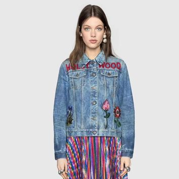 Gucci Fashion  Embroidery Denim Lapel Casual Women  Vest Jacket