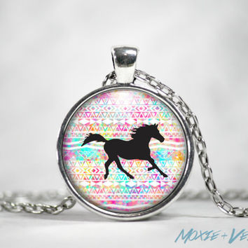 Horse Totem Necklace, Spirit Animal, Power Animal, Pendant, Glass Photo Jewelry, Nature, Tribal