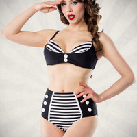 Black Striped High Waist Bikini