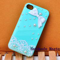 iPhone5 iPhone4 Case Handmade Bling iPhone Cover, Pearl Lace Resin Bow Decoration, Mint Green Shell