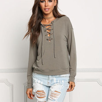 Sage Pullover Lace Up Sweater Top