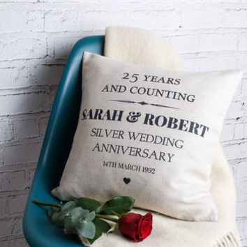 Silver Wedding Anniversary Cushion Cover