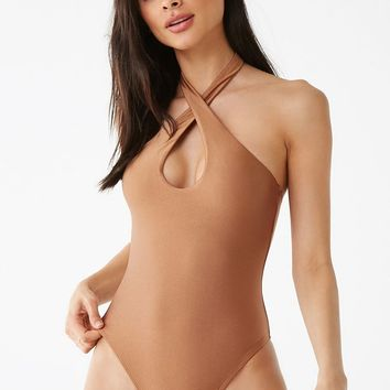 Crisscross Halter One-Piece Swimsuit