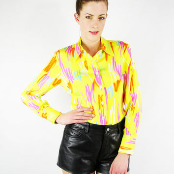 Neon Yellow Abstract Shirt Top Abstract Print Shirt Pop Art Print Blouse Spray Paint 70s Disco Shirt 90s Club Kid Shirt S Small M Medium